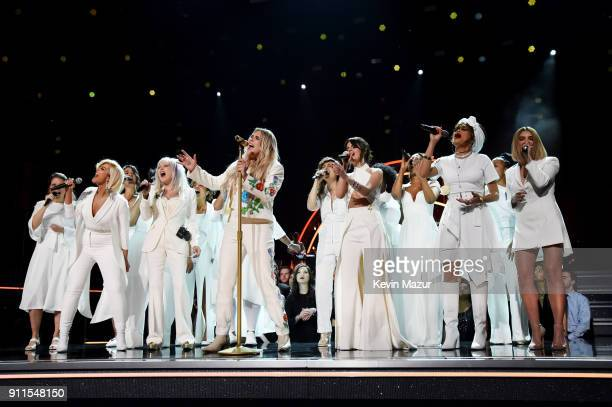 Recording artists Bebe Rexha Cyndi Lauper Kesha Camila Cabello and Andra Day perform onstage during the 60th Annual GRAMMY Awards at Madison Square...