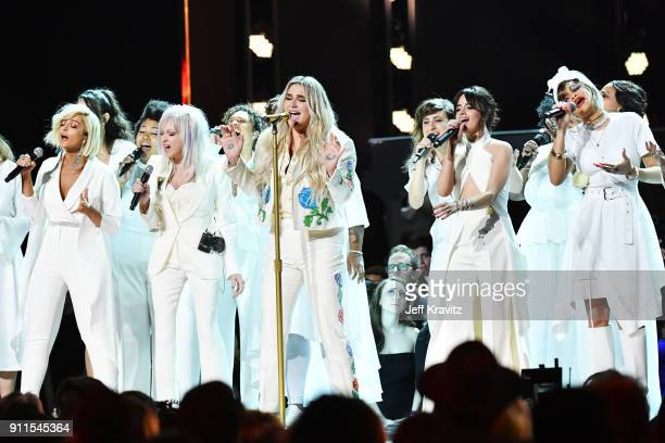Recording artists Bebe Rexha, Cyndi Lauper, Kesha, Camila Cabello, Andra Day and Julia Michaels perform onstage during the 60th Annual GRAMMY Awards...