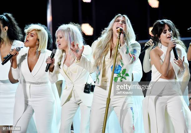 Recording artists Bebe Rexha Cyndi Lauper Kesha Camila Cabello Andra Day and Julia Michaels perform onstage during the 60th Annual GRAMMY Awards at...