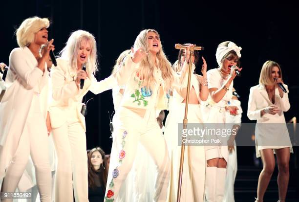 Recording artists Bebe Rexha Cyndi Lauper Kesha Camila Cabello Andra Day and Julia Michaels attend the 60th Annual GRAMMY Awards at Madison Square...