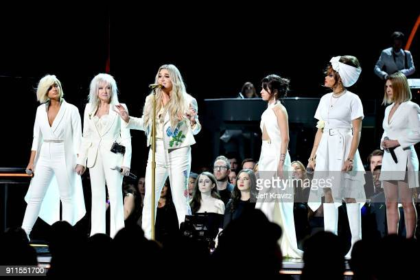 Recording artists Bebe Rexha Cyndi Lauper Kesha Camila CabelloAndra Day and Julia Michaels perform onstage during the 60th Annual GRAMMY Awards at...