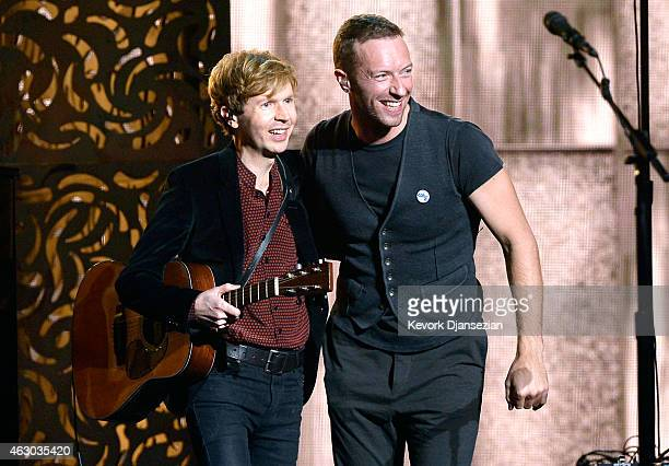 Recording artists Beck and Chris Martin perform Heart Is a Drum onstage during The 57th Annual GRAMMY Awards at the at the STAPLES Center on February...
