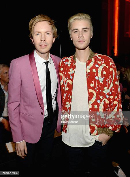 Recording artists Beck and Justin Bieber in Saint Laurent by Hedi Slimane attend Saint Laurent at the Palladium on February 10 2016 in Los Angeles...