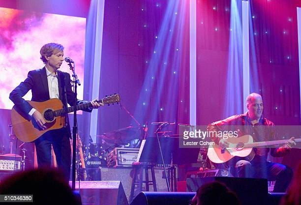 Recording artists Beck and Krist Novoselic perform onstage during the 2016 PreGRAMMY Gala and Salute to Industry Icons honoring Irving Azoff at The...