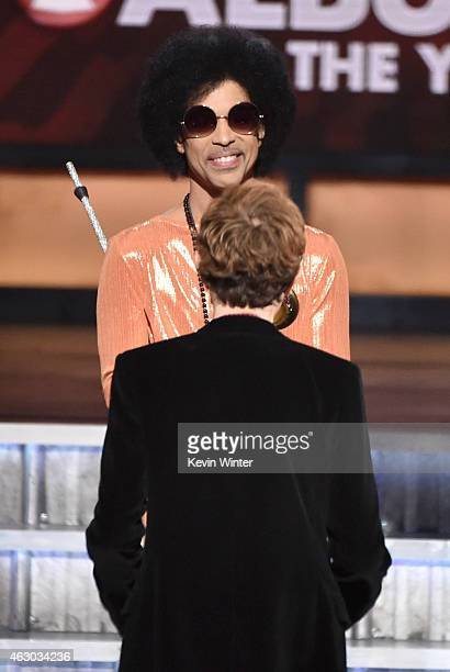 Recording artists Beck and Prince onstage during The 57th Annual GRAMMY Awards at the STAPLES Center on February 8, 2015 in Los Angeles, California.