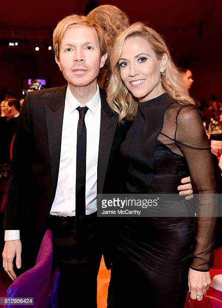 Recording artists Beck and Sheryl Crow attend the 24th Annual Elton John AIDS Foundation's Oscar Viewing Party at The City of West Hollywood Park on...
