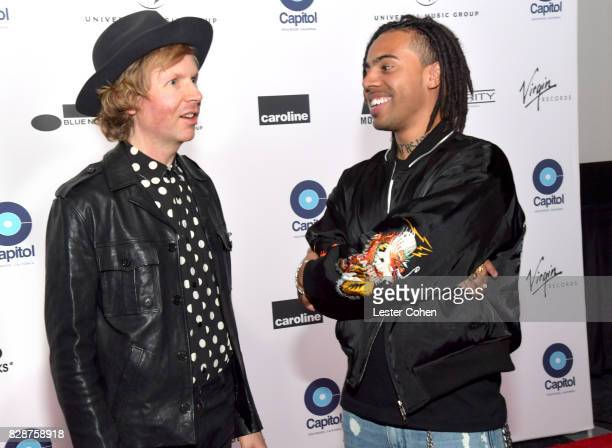 Recording artists Beck and Vic Mensa attend Capitol Music Group's Premiere Of New Music And Projects For Industry And Media at ArcLight Cinemas on...
