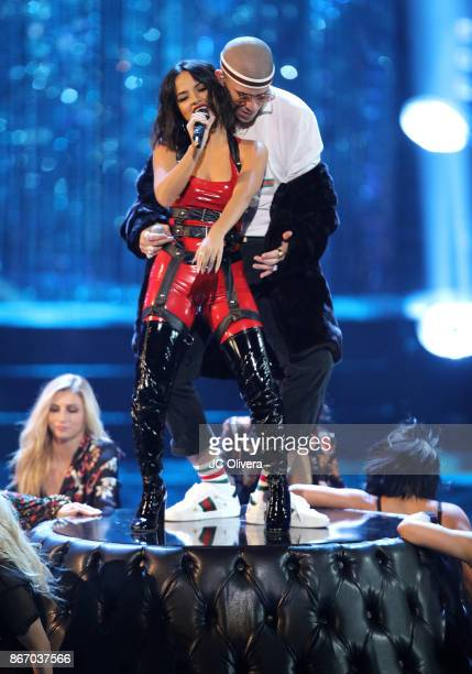 Recording artists Becky G and Bad Bunny perform onstage during the 2017 Latin American Music Awards at Dolby Theatre on October 26 2017 in Hollywood...