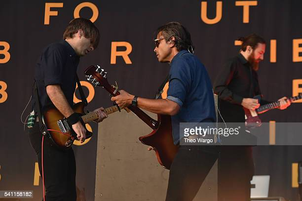 Recording artists Ben Gibbard Chris Walla and Jason McGerr of Death Cab for Cutie performs onstage at Firefly Music Festival on June 18 2016 in Dover...