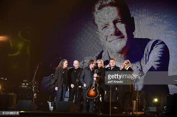 Recording artists Bernie Leadon, Jackson Browne,Timothy B. Schmit, Joe Walsh and Don Henley perform onstage during The 58th GRAMMY Awards at Staples...