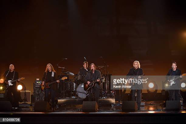 Recording artists Bernie Leadon, Timothy B. Schmit, Don Henley , Jackson Browne, Joe Walsh, and Steuart Smith perform onstage during The 58th GRAMMY...