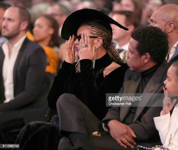 Recording artists Beyoncé and JAYZ attend the 60th Annual GRAMMY Awards at Madison Square Garden on January 28 2018 in New York City