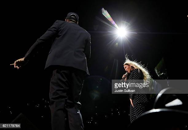 Recording artists Beyonce and Jay Z perform during a Get Out The Vote concert for Democratic presidential nominee Hillary Clinton at Wolstein Center...