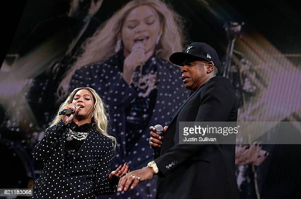 Recording artists Beyonce and Jay Z perform during a Get Out The Vote concert Democratic presidential nominee former Secretary of State Hillary...