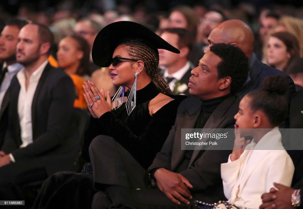 Recording artists Beyonce and Jay-Z, and Blue Ivy Carter attend the 60th Annual GRAMMY Awards at Madison Square Garden on January 28, 2018 in New York City.