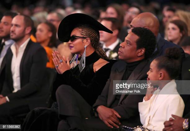 Recording artists Beyonce and JayZ and Blue Ivy Carter attend the 60th Annual GRAMMY Awards at Madison Square Garden on January 28 2018 in New York...