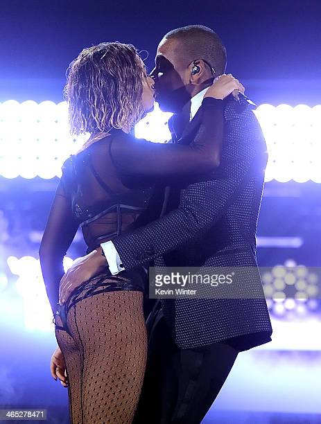 Recording artists Beyonce and JayZ perform onstage during the 56th GRAMMY Awards at Staples Center on January 26 2014 in Los Angeles California