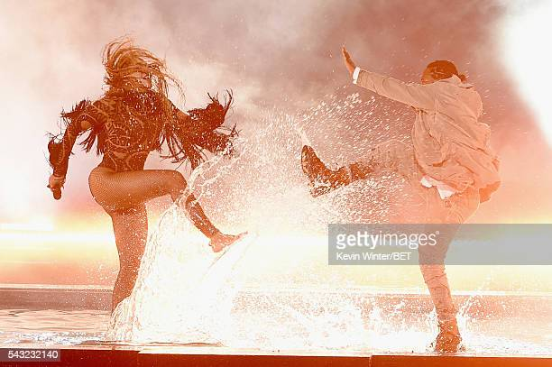 Recording artists Beyonce and Kendrick Lamar perform onstage during the 2016 BET Awards at the Microsoft Theater on June 26, 2016 in Los Angeles,...