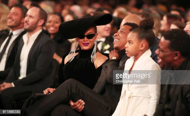 Recording artists Beyonce Jay Z and daughter Blue Ivy Carter attend the 60th Annual GRAMMY Awards at Madison Square Garden on January 28 2018 in New...