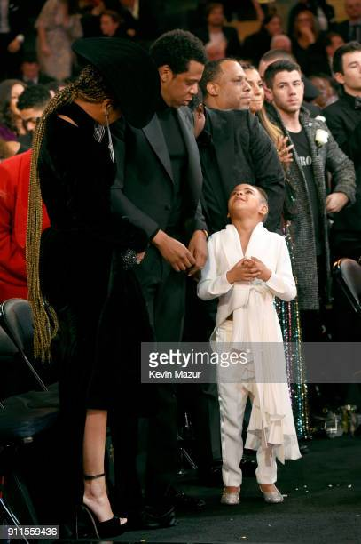 Recording artists Beyonce Jay Z and daughter Blue Ivy Carter during the 60th Annual GRAMMY Awards at Madison Square Garden on January 28 2018 in New...