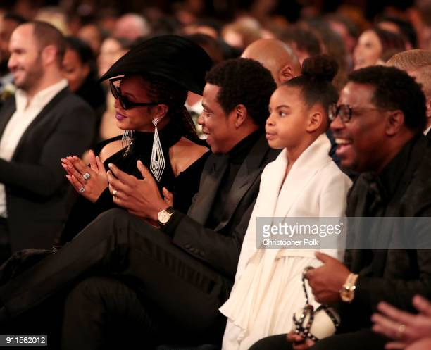 Recording artists Beyonce Jay Z and their daughter Blue Ivy Carter attend the 60th Annual GRAMMY Awards at Madison Square Garden on January 28 2018...
