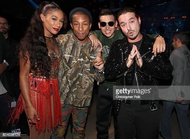Recording artists Bianca Landrau aka Bia Pharrell Williams Sky and J Balvin pose backstage at The 17th Annual Latin Grammy Awards at TMobile Arena on...