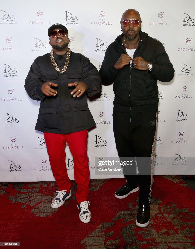 Recording artists Big Boi (L) and Sleepy Brown arrive at Drai's Beach Club - Nightclub at The Cromwell Las Vegas on August 19, 2017 in Las Vegas, Nevada.