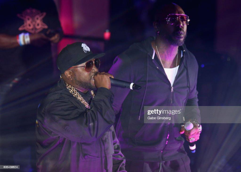 Recording artists Big Boi (L) and Sleepy Brown perform at Drai's Beach Club - Nightclub at The Cromwell Las Vegas on August 19, 2017 in Las Vegas, Nevada.