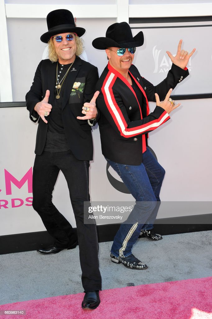 Recording artists Big Kenny (L) and John Rich of music group Big & Rich arrive at the 52nd Academy Of Country Music Awards on April 2, 2017 in Las Vegas, Nevada.