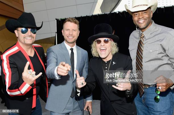 Recording artists Big Kenny and John Rich of music group Big Rich Dierks Bentley 2nd from and Cowboy Troy attend the 52nd Academy Of Country Music...
