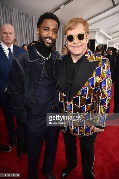 Recording artists Big Sean and Elton John attends the 60th Annual GRAMMY Awards at Madison Square Garden on January 28 2018 in New York City
