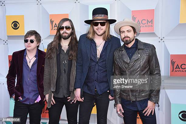 Recording artists Bill Satcher Graham Deloach Michael Hobby and Zach Brown of A Thousand Horses attend the 51st Academy of Country Music Awards at...