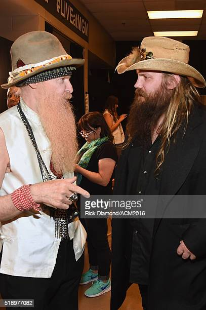 Recording artists Billy Gibbons of ZZ Top and Chris Stapleton attend the 51st Academy of Country Music Awards at MGM Grand Garden Arena on April 3...