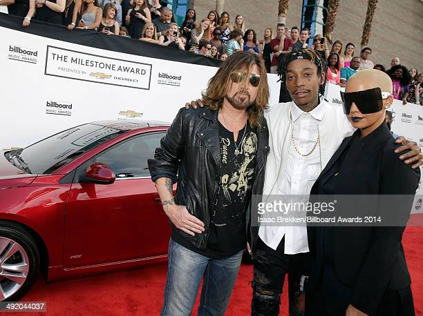 Recording artists Billy Ray Cyrus Wiz Khalifa and model Amber Rose attend the 2014 Billboard Music Awards at the MGM Grand Garden Arena on May 18...