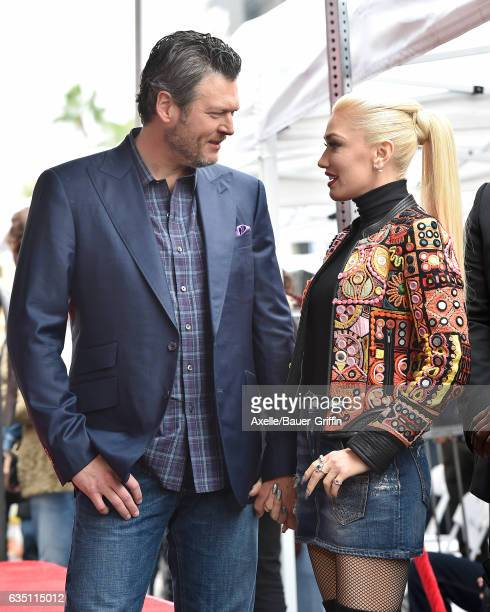 Recording artists Blake Shelton and Gwen Stefani attend the ceremony honoring Adam Levine with star on the Hollywood Walk of Fame on February 10 2017...