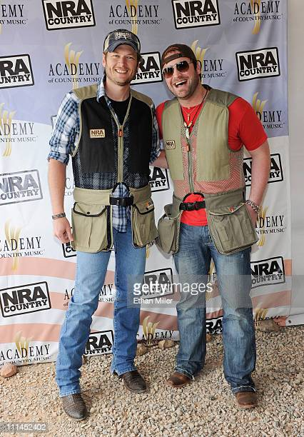 Recording artists Blake Shelton and Lee Brice attend the NRA Country/ACM Celebrity Shoot hosted by Blake Shelton at Nellis Air Force Base on April 2...
