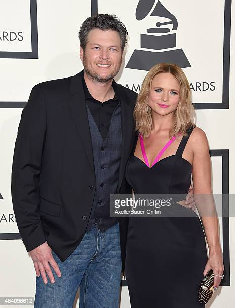Recording artists Blake Shelton and Miranda Lambert arrive at the 57th Annual GRAMMY Awards at Staples Center on February 8 2015 in Los Angeles...