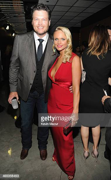 Recording artists Blake Shelton and Miranda Lambert attend the 56th GRAMMY Awards at Staples Center on January 26 2014 in Los Angeles California