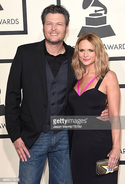 Recording artists Blake Shelton and Miranda Lambert attend The 57th Annual GRAMMY Awards at the STAPLES Center on February 8 2015 in Los Angeles...
