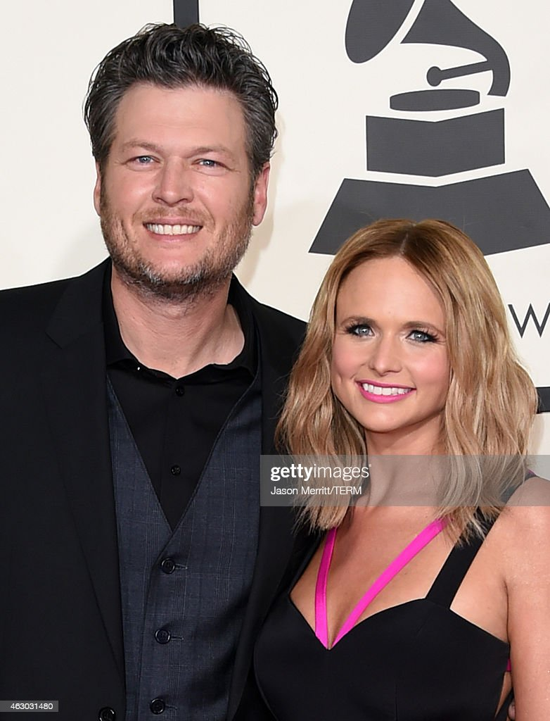 Recording artists Blake Shelton (L) and Miranda Lambert attend The 57th Annual GRAMMY Awards at the STAPLES Center on February 8, 2015 in Los Angeles, California.