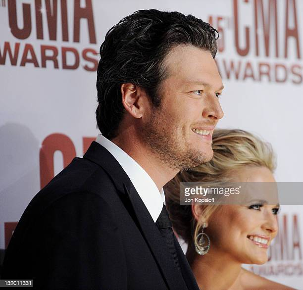 Recording artists Blake Shelton and wife Miranda Lambert arrive at the 45th annual CMA Awards at the Bridgestone Arena on November 9 2011 in...