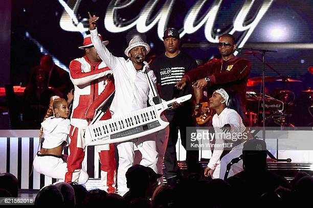 Recording artists Bobby Brown Teddy Riley Markell Riley and Aqil Davidson of WreckxnEffect and Damion Hall of Guy perform onstage during the 2016...