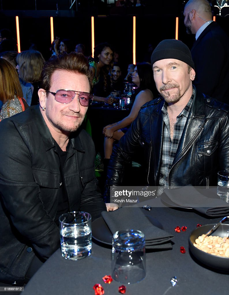 Recording artists Bono and The Edge attend the iHeartRadio Music Awards which broadcasted live on TBS, TNT, AND TRUTV from The Forum on April 3, 2016 in Inglewood, California.