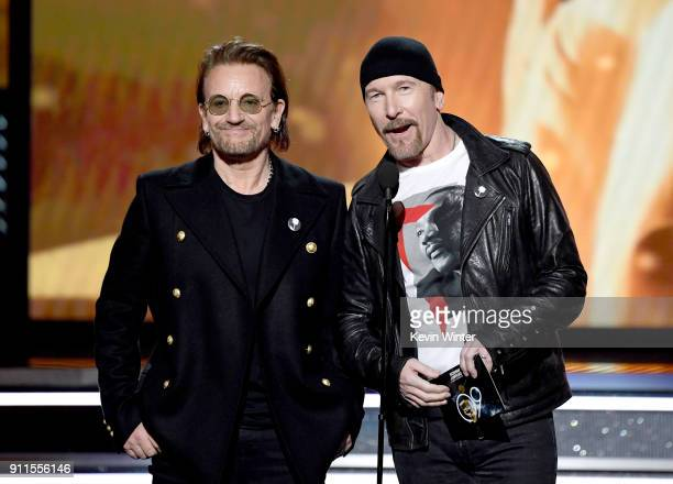 Recording artists Bono and The Edge of music group U2 speak onstage during the 60th Annual GRAMMY Awards at Madison Square Garden on January 28 2018...