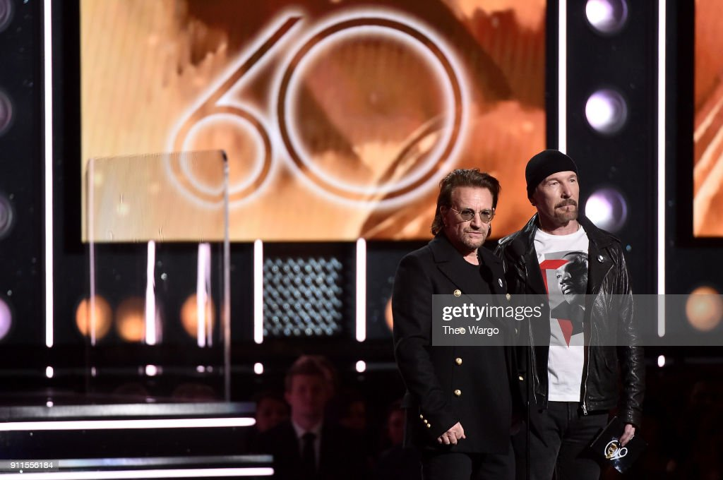 Recording artists Bono (L) and The Edge of musical group U2 speak onstage during the 60th Annual GRAMMY Awards at Madison Square Garden on January 28, 2018 in New York City.