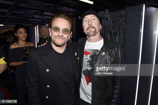 Recording artists Bono and The Edge of the band U2 attend the 60th Annual GRAMMY Awards at Madison Square Garden on January 28 2018 in New York City