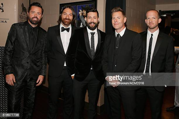 Recording artists Brad Tursi Geoff Sprung Matthew Ramsey Trevor Rosen and Whit Sellers of Old Dominion attend the 51st Academy of Country Music...