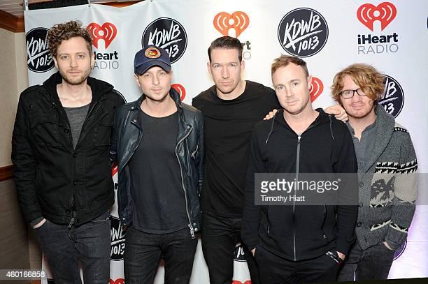 Recording artists Brent Kutzle Ryan Tedder Zach Filkins Eddie Fisher and Drew Brown of music group OneRepublic attend 1013 KDWB's Jingle Ball 2014...