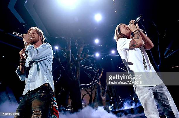 Recording artists Brian Kelley and Tyler Hubbard of Florida Georgia Line perform onstage during the 51st Academy of Country Music Awards at MGM Grand...