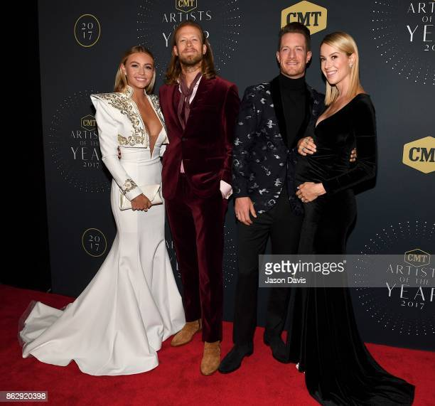 Recording Artists Brian Kelley and Tyler Hubbard of Florida Georgia Line arrive with their wives Brittany Cole and Hayley Stommel at the 2017 CMT...